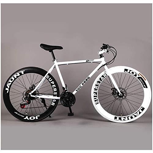 Mountainbike fixed gear racefiets variabele snelheid dubbele schijfrem heren en dames 60 snijwiel student volwassen zwart