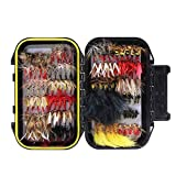 Croch 120pcs Dry Flies Wet Flies Flies Box Set Mix Designs Fishing Lure Bass Salmon Trouts Flies Floating\/Sinking Assortment with Waterproof Fly Box
