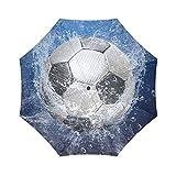 Fútbol balón de fútbol plegable paraguas con antideslizante agarre paraguas para negocios y viajes, Oversize paraguas de Golf