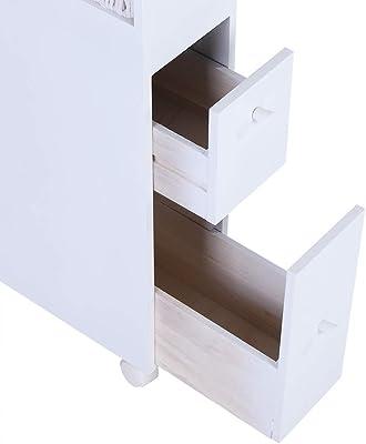GOTOTOP Armario Impermeable Baño Mueble Lateral para Inodoro Armario de Almacenamiento con Ruedas con Dos Cajones