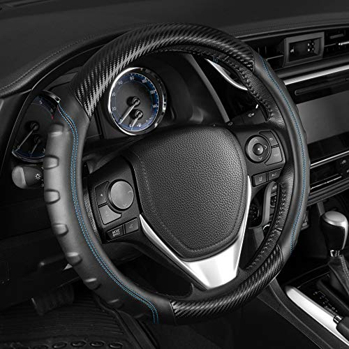 BDK ACDelco Black/Gray Ergonomic Sports Grip Carbon Fiber Leather Steering Wheel Cover for Standard Sizes 14.5 15 15.5 (Black - Blue Stitching) (ACSW-2002-BL)