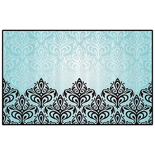Damask Decor Patio Rugs Kitchen Rugs Non Skid Modern Damask Motif with Symmetric Lines Artsy Royal Baby Color Bold Floral Pattern Art Dining Room Home Bedroom Carpet Floor Mat Blue Black