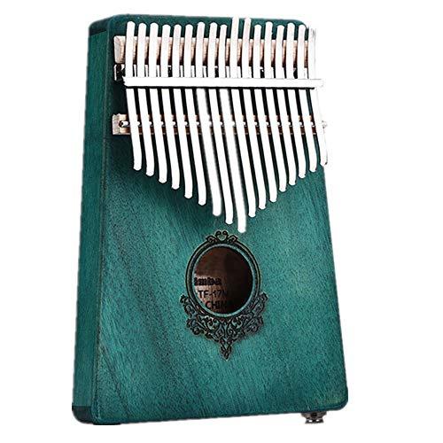 Kalimba Mahogany 17-key Elektrische Thumb Pianomuziek Gift Mbira Staalsleutel Beginner Piano 17-key Thumb Piano (Color : Green2, Size : 18x13x2.5cm)