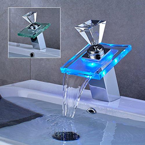 LED RGB auralum vetro miscelatore monocomando rubinetto Cascata Rubinetto lavabo lavabo miscelatore per bagno camera