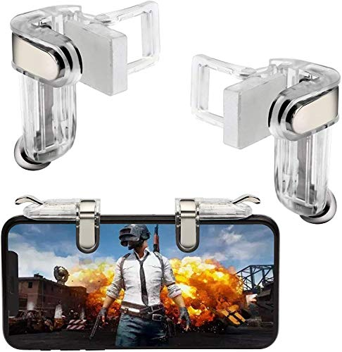 Joylin Mobile Game Controller, Mobile Gaming Joysticks, Cell Phone Game Controller with Sensitive Shoot and Aim Trigger Buttons for PUBG Compatible with Android and iOS (Transparent)
