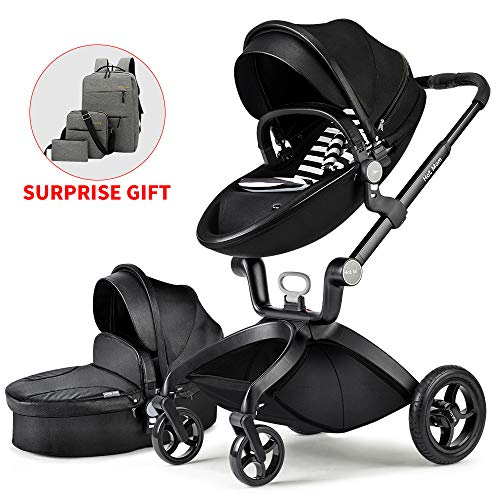 Baby Stroller 2020, Hot Mom Baby Carriage with Pu Rubber Wheel Bassinet Combo,Black