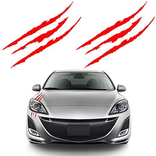 Bonfinity 2 Adesivi Auto a Forma di Graffi Tuning Sport | Stickers Adesivi Artigli Mostro Moto Macchina Esterni 40 x 3 cm (Rosso)