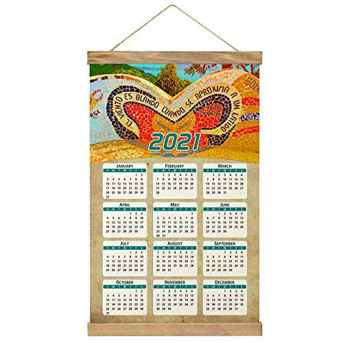 "Lima Perú Imprimir Póster Calendario de Pared 2021 12 Meses Pintura decorativa Cuadros Colgantes Lienzo Madera 20.4 ""x 13.1"" GL-Peru-4622"