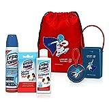 Sacca con kit Lysoform on the go: 1 Gel Detergente Mani 100ml, 1 Salviettine Detergenti Mani, 1 Spray Igienizzante Multisuperficie, 1 Zainetto, 1 Porta-mascherina, 1 Portachiavi
