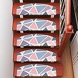 LANGPIG 15 stück treppenstufenmatten wohnmatten rutschfeste teppiche PVC fußmatten treppenteppiche-Buntes Dreieck 1_Quadrat 70 * 22cm