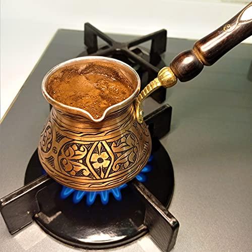 BEYAZATLI 12 Oz Medium Turkish Coffee Pot, Turkish Coffee Maker with Wooden Handle, Briki Greek, Coffee Pot, 4 person Hammered Cezve Ibrik Brik, Arabic, Free Wooden Spoon and Turkish Coffee Included