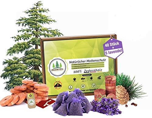 Zederneco 45x Mottenschutz für Kleiderschrank duftkissen duft,Lavendel Mottenschutz aus Zedernholz motten, Provence Lavendelsäckchen für Kleiderschrank, Duftsäckchen, 40 zedernholz+5 Lavendel