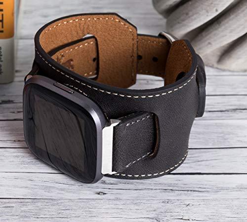 Correa de repuesto para hombre de piel auténtica, hecha a mano, compatible con Fitbit Versa, Versa Lite, Versa 2