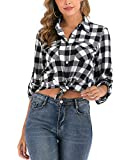 Enjoyoself Womens Casual Roll up Long Sleeve Boyfriend Plaid Button Down Flannel Check Shirt Black White