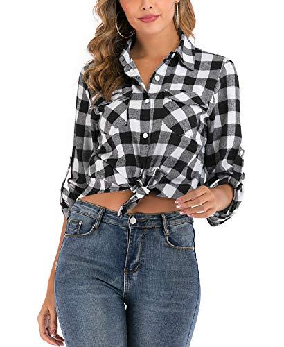 Enjoyoself Damen Karrierte Bluse Langarm Karo Flanell Hemden Baumwolle Button-down Hemdbluse für Alltag und Oktoberfest,Schwarz-Weiß,M