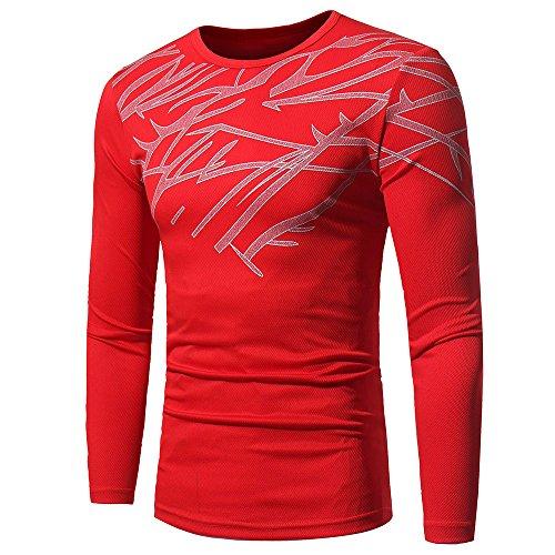 T-Shirts Hommes - Manadlian Tee-Shirt Eté Imprimé à Manches Longues Homme Automne Hiver Sweat-Shirt Col Rond Slim Fit Hauts