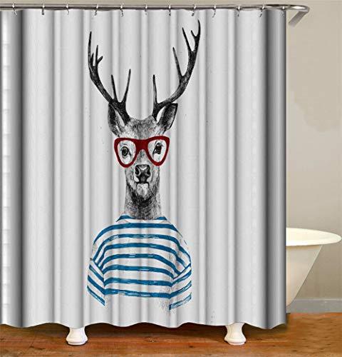 SLN Mr. Deer Trägt Eine Brille Und Gestreifte Kleidung. Duschvorhang. Wasserdicht. Einfach Zu Säubern. 180X180Cm.
