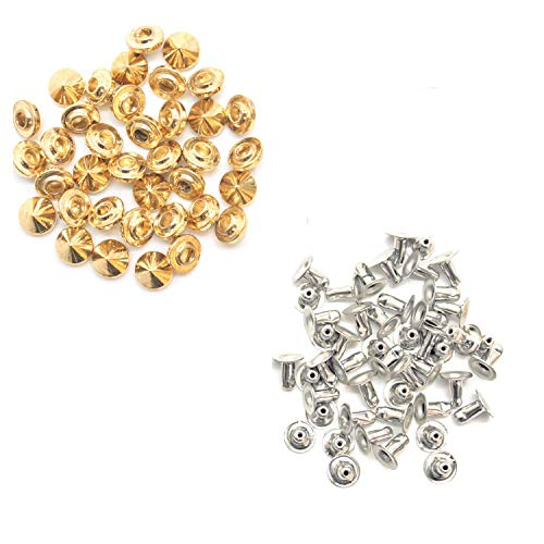 Trimming Shop 100 x 9mm x 6mm Messing Punk Cone Spike Studs met Pins Riem Tas Kleding Leer Craft