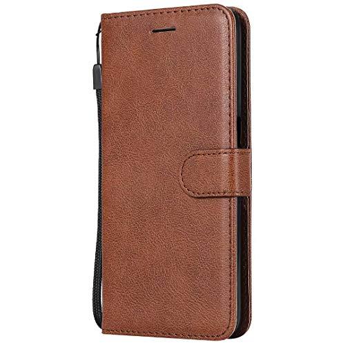 Realme 7 Pro - Funda para teléfono móvil, piel tipo libro a prueba de golpes, con ranuras para tarjetas, cierre magnético, suave de poliuretano termoplástico (TPU), color marrón