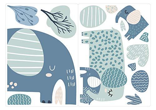 dekodino® Fenstersticker Kinderzimmer Pastell Elefanten gepunktet Set