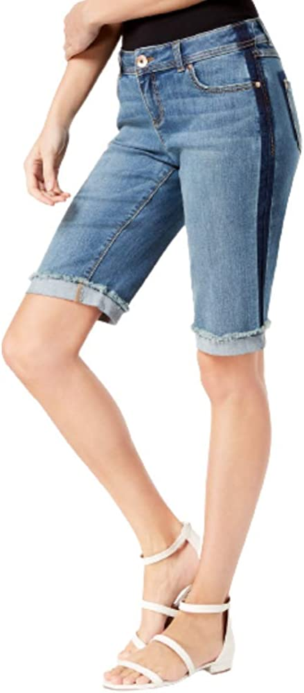 I N C Curvy-Fit Contrast-Trim Cuffed Denim Shorts Navy 0