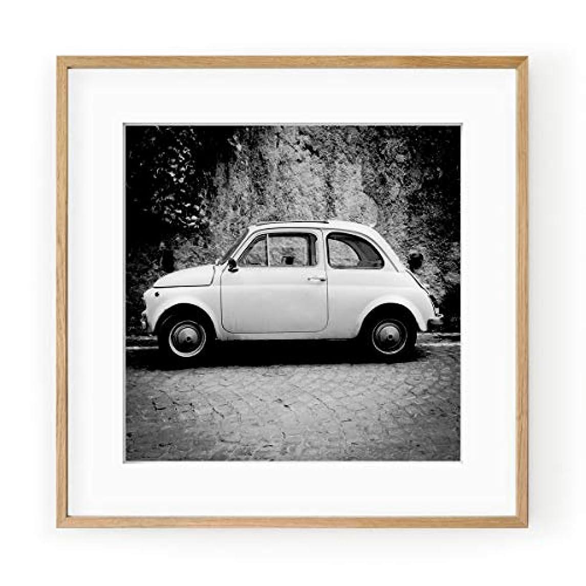 Fiat 500 Black and White Satin Black Aluminium Frame with Mount, Multicolored, 50x50