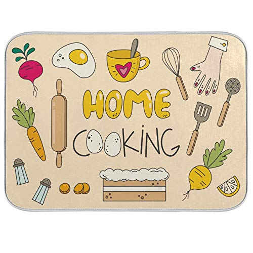 Absorbent Dish Drying Mat Home Cooking Kitchen Counter Mat Protector,Reversible,Medium 18 x 16 Inches