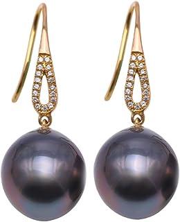 Véritable Naturel 11-12 MM noir de Tahiti ronde perle or 14K Boucles d/'oreilles clou AAAA