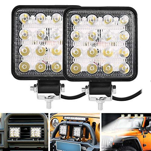 2PCS Phare de Travail LED 48W 16LED Phares Carré Projecteur Voiture Etanche 12V 24V pour Camion Tracteur SUV Bateau