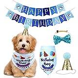 Qiraoxy Fiesta de Cumpleaños para Mascotas Perro Tirar Bandera Triángulo Bufanda Set Suministros Perro Cumpleaños Sombrero Bandana Bowtie Feliz Cumpleaños Pancartas Set (Azul)
