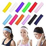 DAZISEN Stirnband Damen - Sport Schweißband Kopf für Laufen Joggen Tennis Fußball Yoga Pilates Haarband Baumwolle Atmungsakti