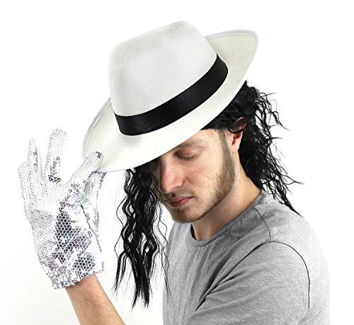 I LOVE FANCY DRESS LTD Un Chapeau Blanc à Bande Noire du Roi de la Pop avec Une Perruque Noire attachée pour Adulte. Ideal pour Les enterrements de Vie de garçon. ( X24 )