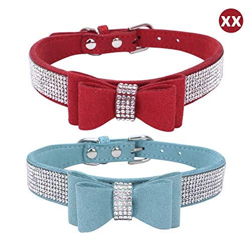 INTVN Katzenhalsband mit Sicherheitsverschluss 2 Katzenhalsbänder Schleife Krawatte Personalisierter Katzenhalsband glitzernd, Strass, mit Glöckchen 25 * 1.5CM