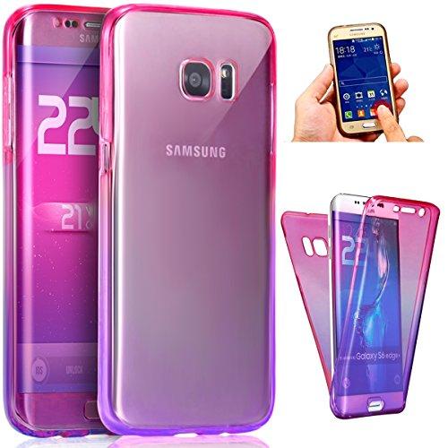 Coque Galaxy S7,Etui Galaxy S7,ikasus Intégral 360 Degres avant + arrière Full Body Protection Couleur de dégradé Transparente Silicone Gel TPU Souple Housse Etui Case Coque pour Galaxy S7,Rose Violet