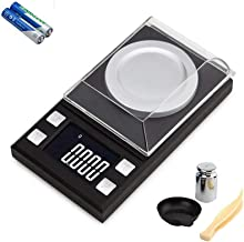 Diagtree Digital Milligram Pocket Scales 0.001g x 50g, Electronic Weighing Scales for Jewelry Coins Reload and Kitchen, 6 Mode Mini LCD Pocket Scale with Calibration Weights Tweezers and Weighing Pans