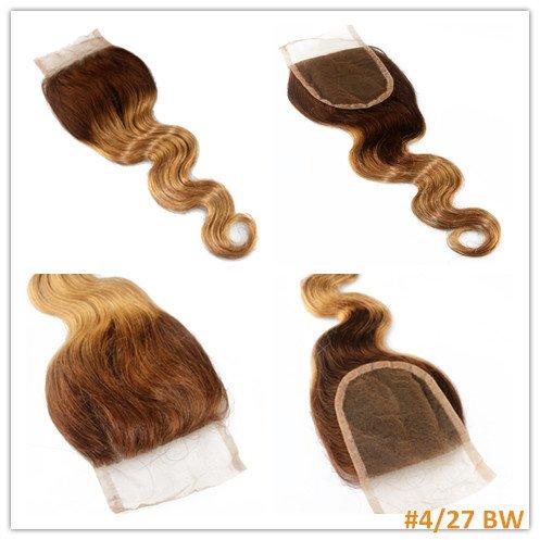 100 % cheveux humains vierges, texture ondulée, dentelle suisse, fermeture sur le dessus, 10,2 x 10,2 cm, avec nœuds décolorés, couleur 4#/27#, ondulé