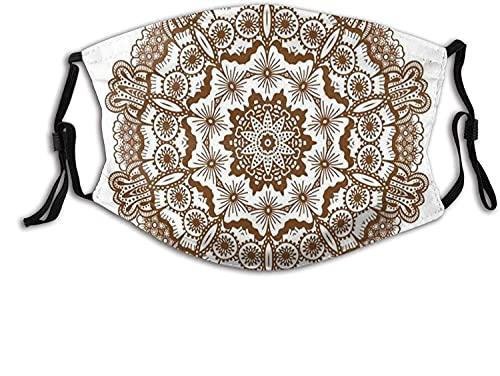 KINGAM Cómoda máscara resistente al viento, diseño de mandala redondo con círculos y flores, decoración facial impresa para mujeres y hombres adultos