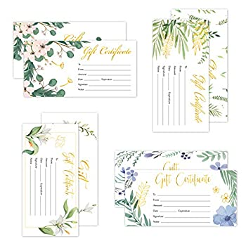 100 PCS Blank Gift Certificates for Small Business Gold Foil Floral Gift Certificate Paper Voucher Business Cards for Beauty Salon Restaurant Spa Unique Coupon Card for Him & Her