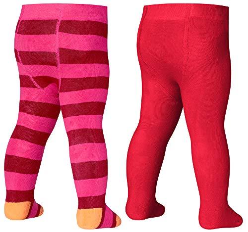 Playshoes Baby-Unisex Frottee Thermo Block-Ringel Strumpfhose, Rot (Original 900), (Herstellergröße: 62/68) (2er Pack)