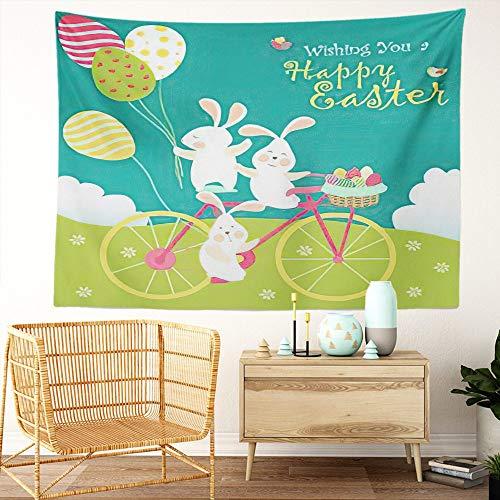 Y·JIANG Tapiz de dibujos animados, conejitos de Pascua y huevos para el hogar, tapiz grande decorativo, manta ancha para colgar en la pared para sala de estar, dormitorio, 80 x 60 pulgadas