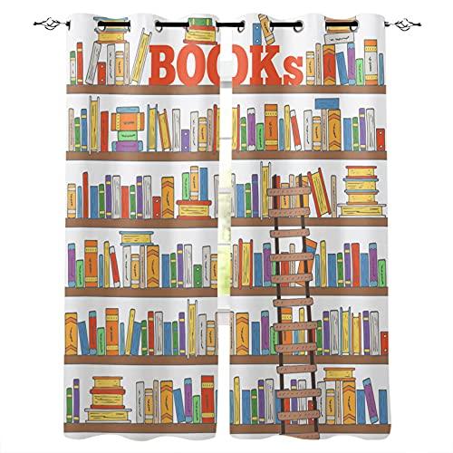 ADKMC Cortinas Infantiles Colorido Dibujos Animados Libros 150X166Cm 3D Cortinas Aislantes Tasa De Sombreado hasta 98% Cortina Opaca para Ventana