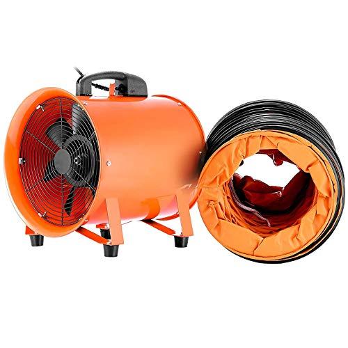 VEVOR Extractor Ventilador Industrial Portátil 300 mm, Ventilador Profesional para Construcción 520W, Ventilador de Piso Industrial, Eléctrico Ventiladores y Extractores de Aire con5m Tubería