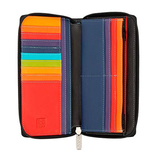 DUDU Portafoglio Donna Grande con Cerniera in Pelle Nappa Zip Around 15 Tasche Porta Carte di credito e Portamonete Nero