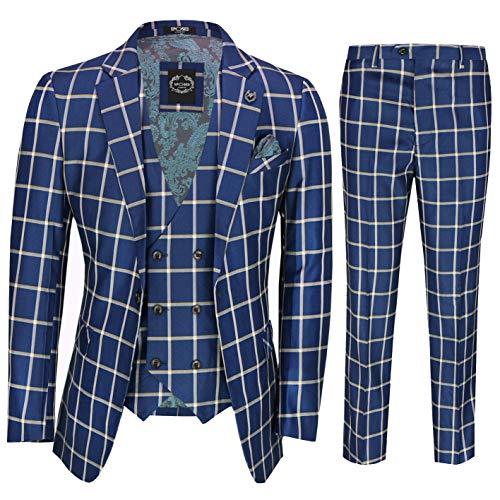 Gris Clásico Azul Príncipe De Los Hombres De Cheques Gales 3 Pieza Doble De Pecho Elegante Traje Retro A Medida [SUIT-K160067-72-C9-BLUE-52UK]