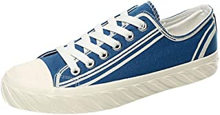 XinQuan Wang Casual Skateboard Sneakers for Men Outdoor Walking Shoes Lace Up Canvas Shoes Strong Antislip Outsole Low Top (Color : Blue, Size : 7.5 UK)