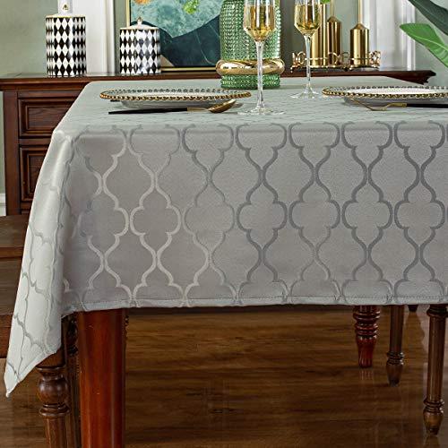 Mantel de poliéster jacquard con patrón de flores, a prueba de derrames, resistente a las arrugas, para decoración de mesa de cocina, comedor (rectangular/oblongo, 132,1 x 177,8 cm (4 – 6 asientos), gris)