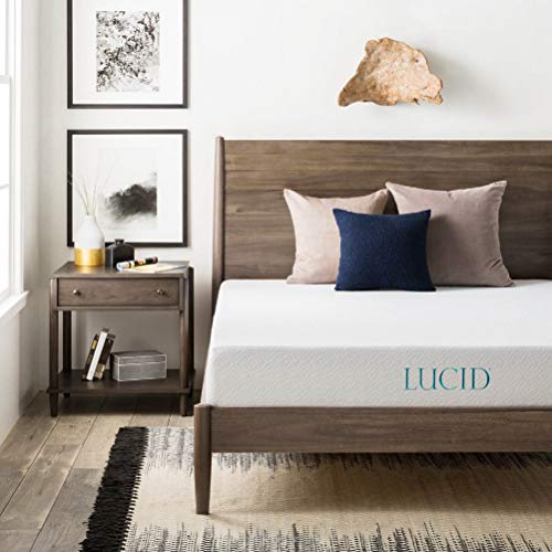 LUCID 8 Inch Gel Infused Memory Foam Mattress - Medium Firm Feel - CertiPUR-US Certified - 10-Year warranty - Queen
