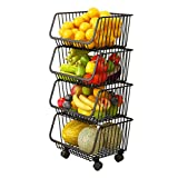 Haturi Rolling Stackable Baskets, 4 Tiers Wire Organizer Basket with Lockable Casters, Fruit...