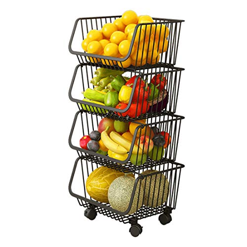 4 Tiers Wire Organizer Basket with Lockable Casters, Fruit Vegetable Produce Metal Storage Bin for Kitchen, Pantry