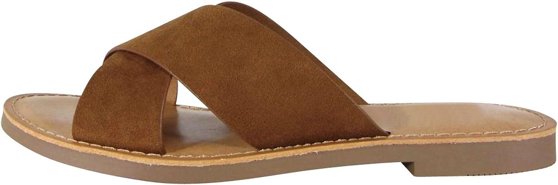 Cambridge Select Women's Open Toe Crisscross Strap Slip-On Flat Slide Sandal